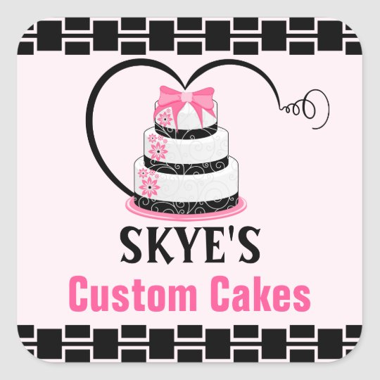 Lovely Custom Cakes Bakery Square Sticker