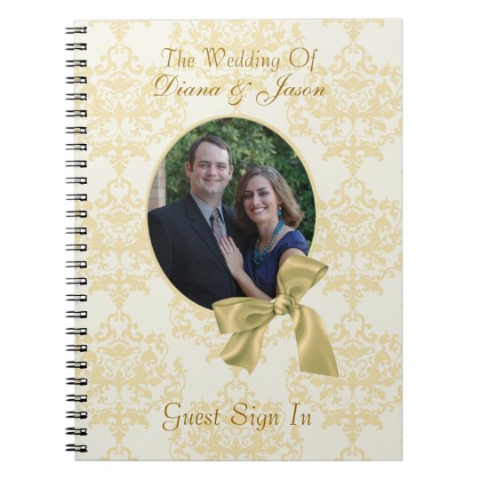 Lovely Custom Damask Wedding Guest Book