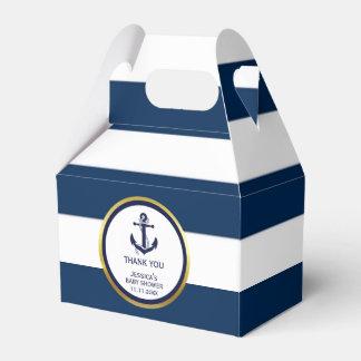Lovely Custom Nautical Navy Blue Gold Baby Shower Favour Box