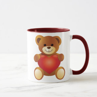 Lovely Cute Bear Holding a Love Heart Mug