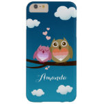 Lovely Cute Owl Couple Full of Love Heart Monogram Barely There iPhone 6 Plus Case