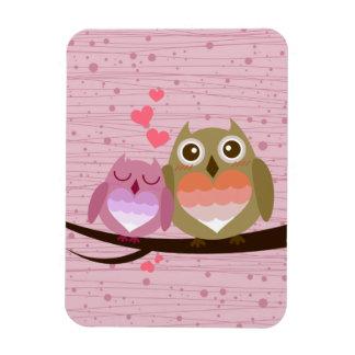 Lovely Cute Owl Couple Full of Love Heart Magnet