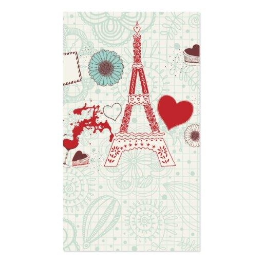lovely cute Paris Eiffel Tower business card temp