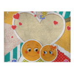Lovely cute smiles in love hearts bow flowers postcard