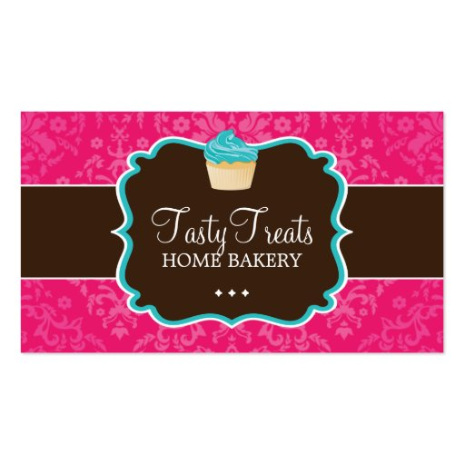 Collections of custom background business cards lovely damask cupcake business cards reheart Choice Image