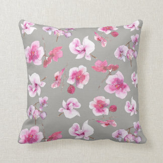 Lovely delicate orchids in watercolors cushion