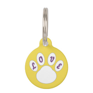Lovely Dog Tag Paw design (Yellow) *Customizable*