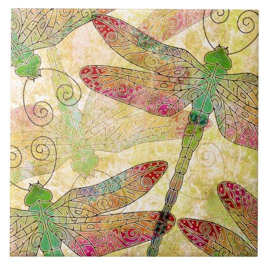 Lovely Dragonfly Swarm Decorative Ceramic Tile