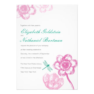 Lovely Dragonfly Wedding Invitation in Pink Blue