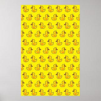 Lovely Duck Cartoon Pattern Poster