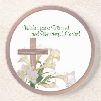Lovely! Easter Lilies & Wooden Cross Coaster