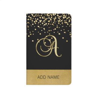 Lovely Elegant Monogram Black Gold Notebook