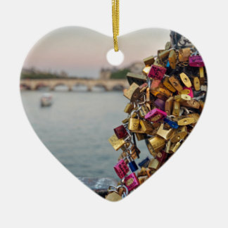 Lovely Evening Sky in Paris with Love Locks Ceramic Heart Decoration