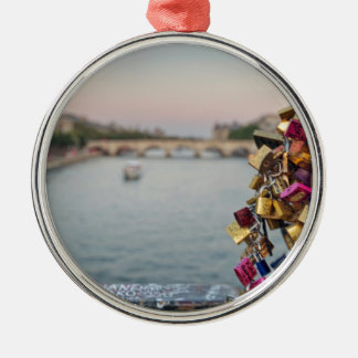 Lovely Evening Sky in Paris with Love Locks Ornament