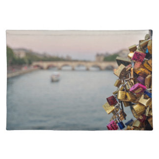 Lovely Evening Sky in Paris with Love Locks Place Mats