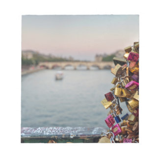 Lovely Evening Sky in Paris with Love Locks Scratch Pads