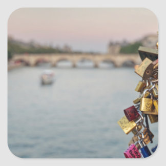 Lovely Evening Sky in Paris with Love Locks Square Sticker