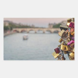 Lovely Evening Sky in Paris with Love Locks Rectangular Sticker
