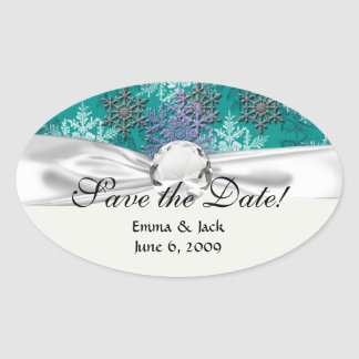 lovely falling snowflakes winter damask oval sticker