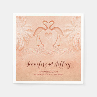 Lovely flamingo couple beach wedding paper napkins