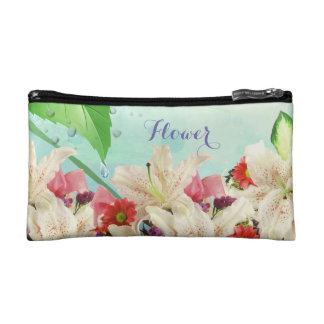 Lovely Floral Orchids Flower in Cosmetic Bag