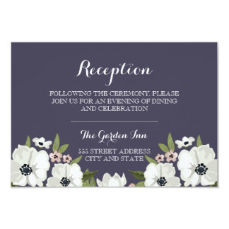 Lovely Floral Reception Card - purple