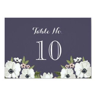 Lovely Floral Table Number Card -  purple