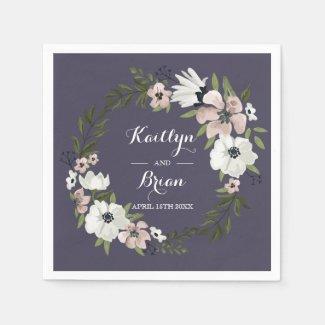 Lovely Floral Wedding Napkin - purple Disposable Serviettes