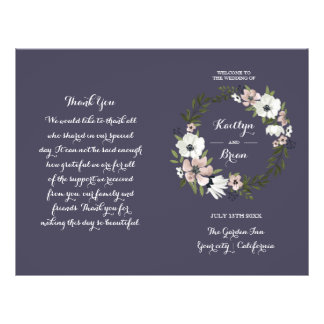 Lovely Floral - wedding program - purple Flyer