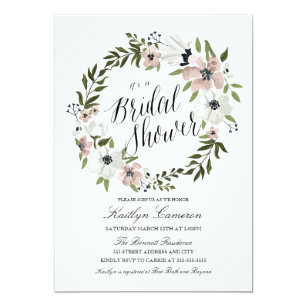 Bridal shower invitations zazzle lovely floral wreath bridal shower invitation filmwisefo