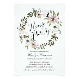Lovely Floral Wreath- Hens Party Invitation