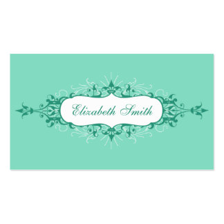 Lovely Flourish Business Card in Blue and Brown