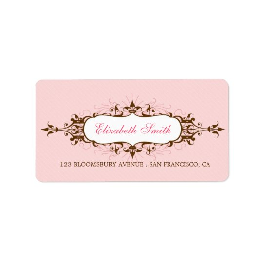 Lovely Flourish Pink / Brown Avery Label