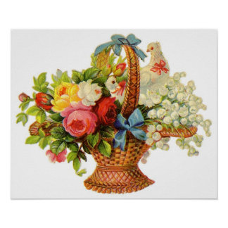 Lovely Flowers and Bird Poster