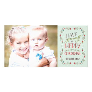 Lovely Garlands Holiday Photo Card - Light Blue