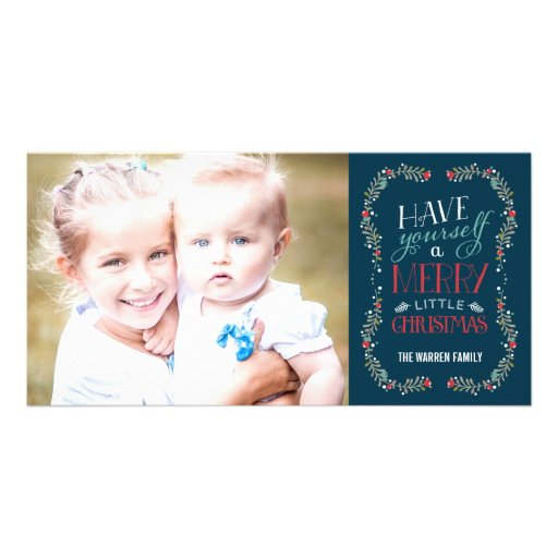 Lovely Garlands Holiday Photo Card - Navy Photo Greeting Card