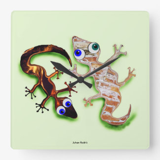 Lovely Gecko Square Wall Clock