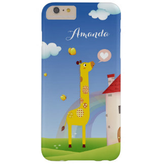 Lovely Giraffe Butterfly Rainbow Castle Monogram Barely There iPhone 6 Plus Case