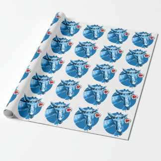 lovely giraffe cartoon style illustration wrapping paper