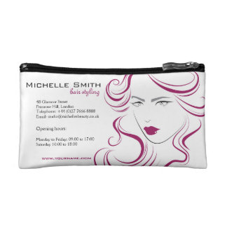 Lovely girl icon purple hair Hairstyling branding Makeup Bags