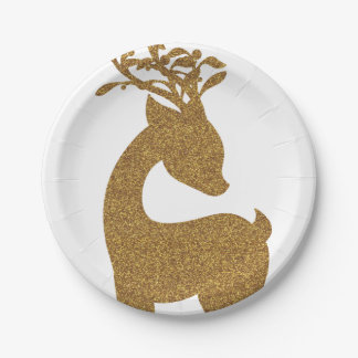 Lovely Gold Glitter Christmas Reindeer Holiday Paper Plate