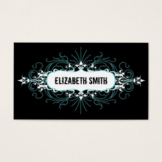 Lovely Gothic Business Card Teal/Black