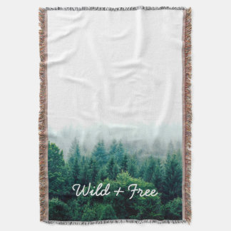 Lovely Green Forest Wild and Free Throw Blanket