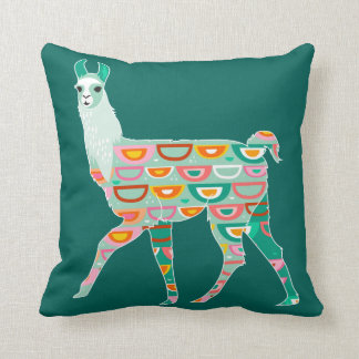 Lovely Green Llama - Throw Pillow
