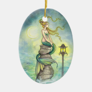 Lovely Green Mermaid by Molly Harrison Christmas Ornament