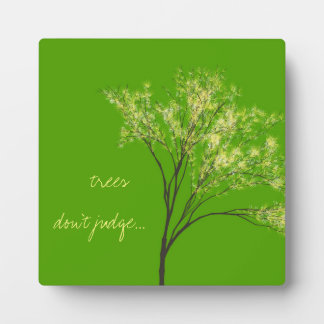Lovely Green Tree Art Quote Photo Plaque