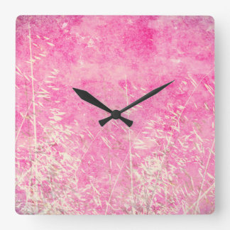 Lovely grungy pink and white floral design square wallclocks