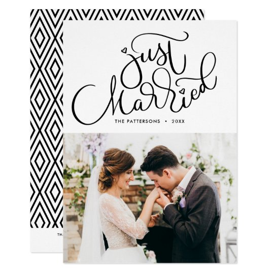 Lovely Hand Lettered Just Married Photo Wedding Card