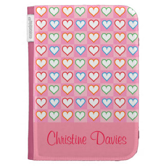 Lovely hearts on pink  kindle case