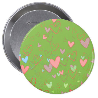Lovely Hearts Pattern Green Round Badge